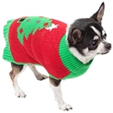 Trezo Paws RED HOLIDAY TREE PET CHRISTMAS SWEATER LARGE